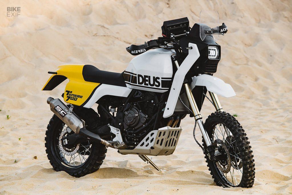 a side profile of the custom Yamaha Ténéré 700, created by Deus Italia