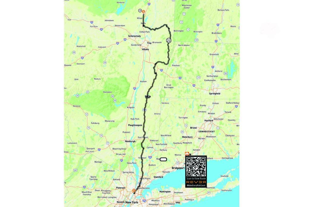 Open Road to IMS Outdoors New York City scenic ride REVER route map