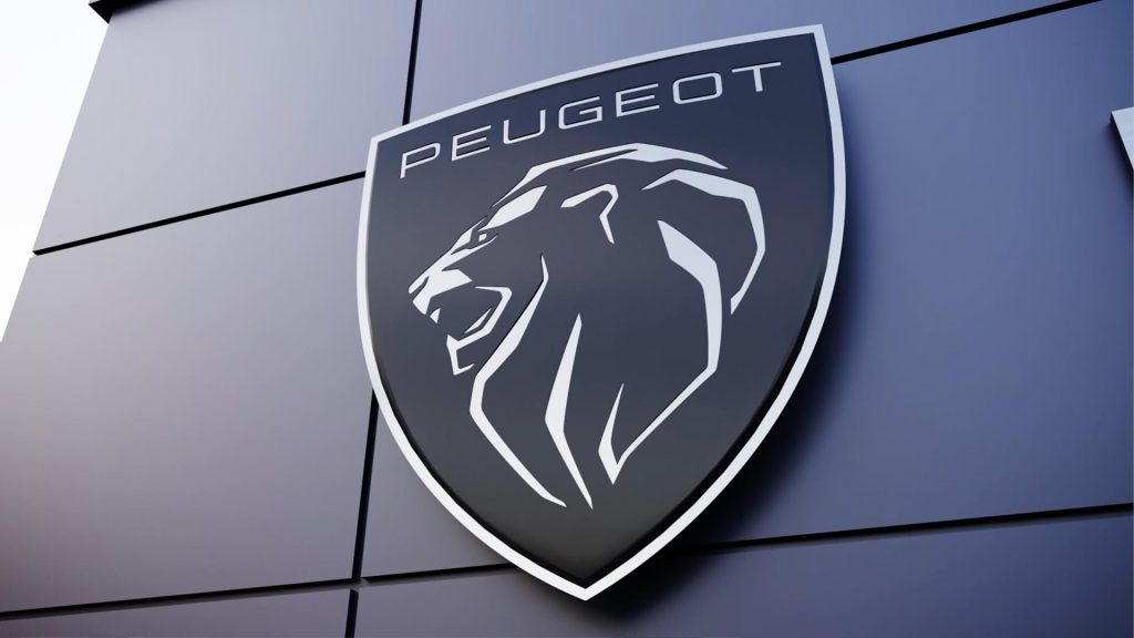 A view of the Peugeot brand shield logo