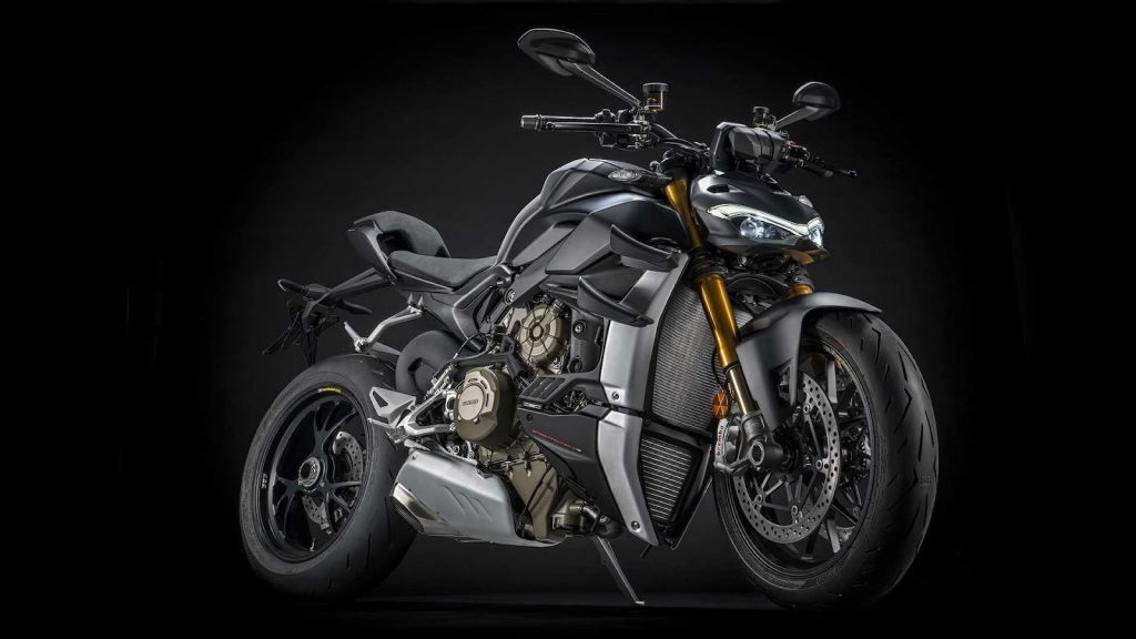 A side view of the Ducati Streetfighter V4 S in Black Stealth