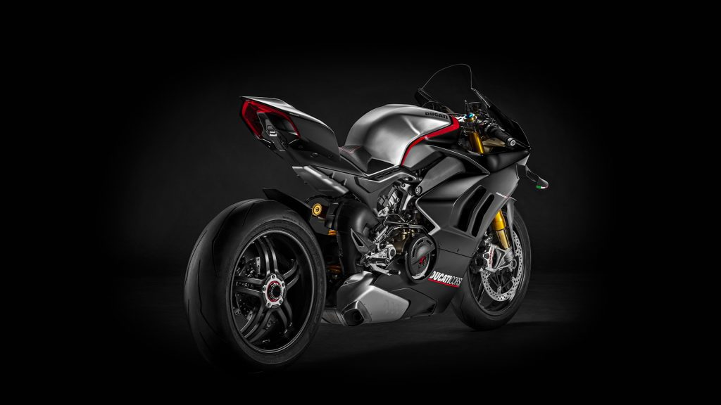 a back-side view of the Ducati Panigale V4 SP