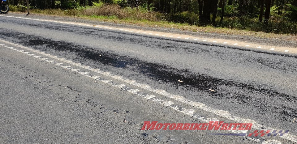 Melting tar on Oxley highway sand fix