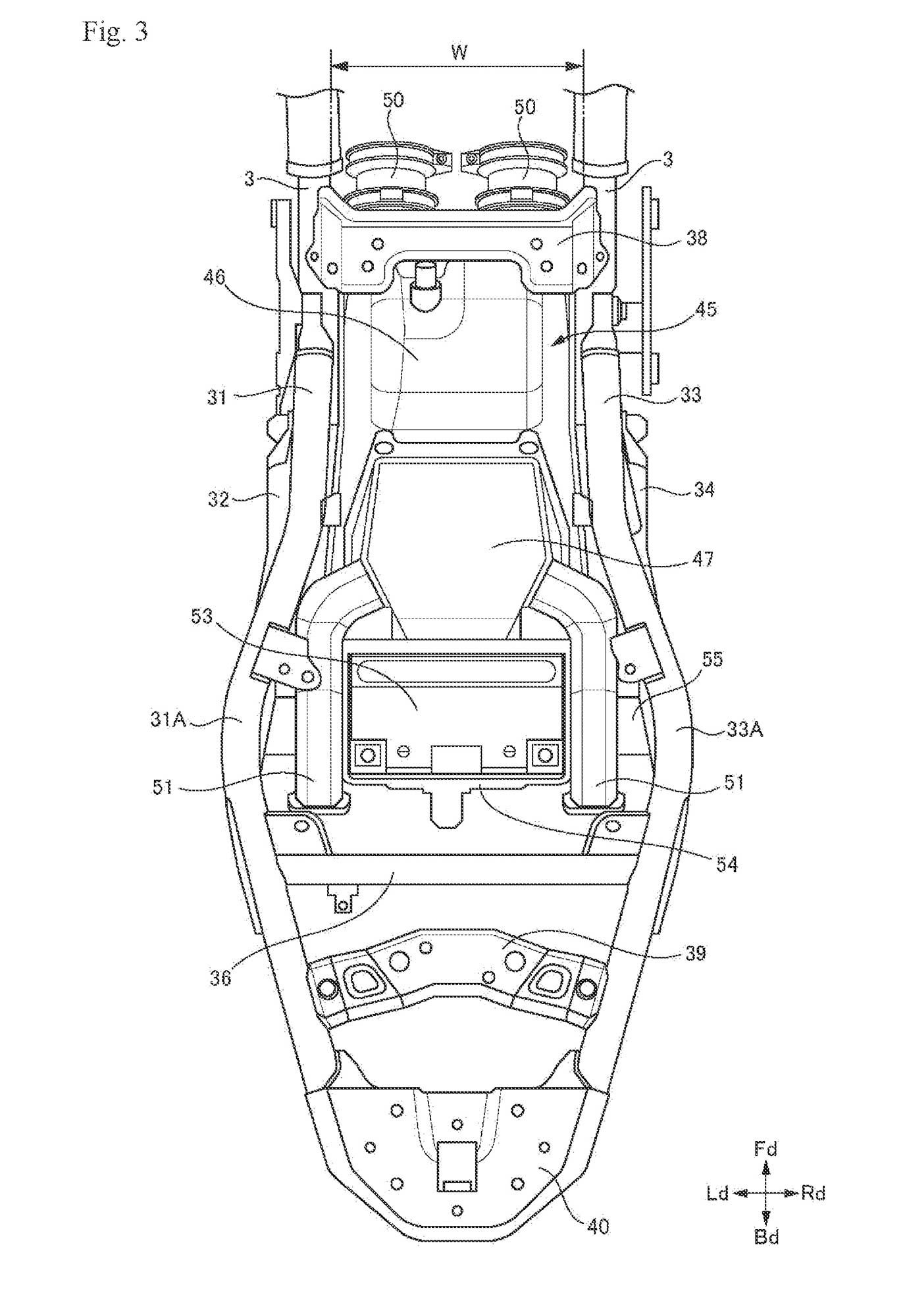 A patent image of the upcoming 700cc parallel-twin engine in a SV650-like motorcycle